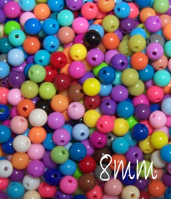 100 count 8mm Smooth Round Acrylic Beads in a colorful mix