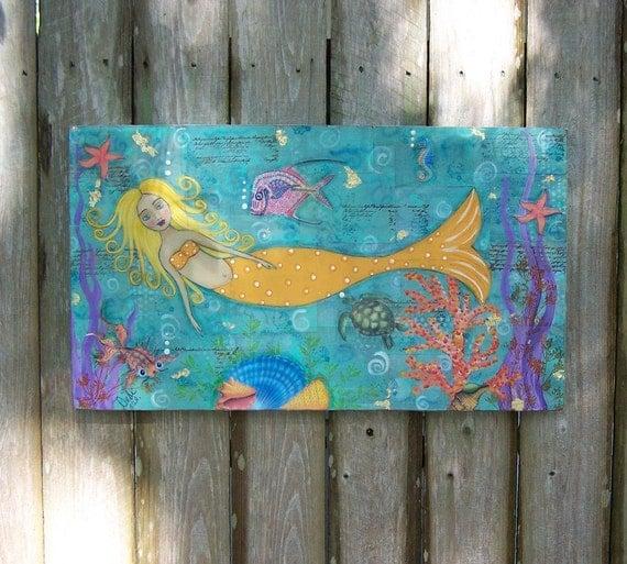 Folk Art Mermaid Encaustic Painting OOAK Mixed Media Original FREE SHIPPING