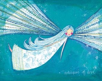 Whispering Angel Wall Art Print - kids decor