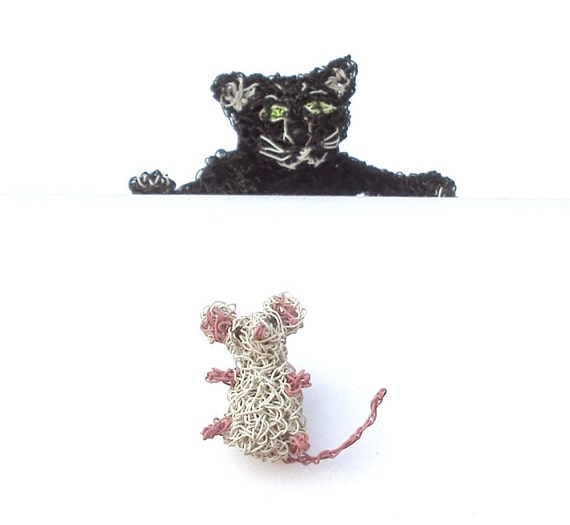 Cat and mouse brooches, cat shoulder brooch and tiny mouse brooch