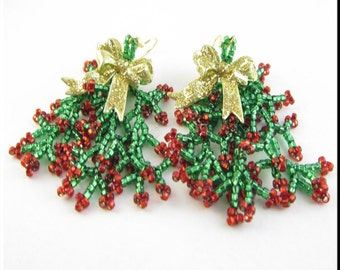 Christmas Bows with Coraling Dangle Beadwork Seed Bead Earrings