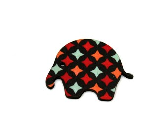 SALE Elephant Brooch, Geometric Illustration, Wood Jewelry, Animal Brooch