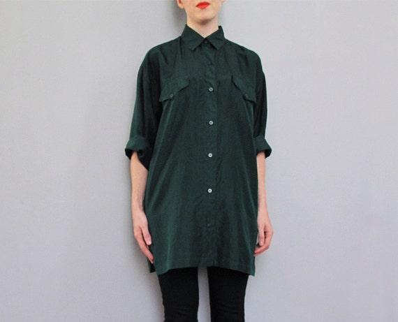 vintage DARK GREEN silk button down shirt S M