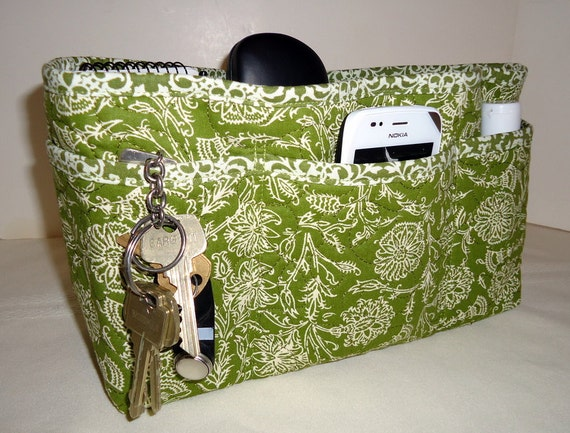 """Quilted Large Purse Organizer Insert With 4"""" Depth Enclosed Bottom  Olive Green"""