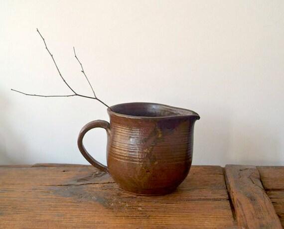 Vintage Rustic Studio Pottery Stoneware Pitcher