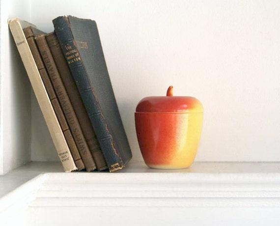 Vintage Milkglass Lidded Apple Jar