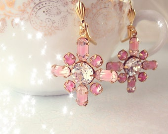 Shabby Winter Snowflake givre rhinestone drop earrings pink