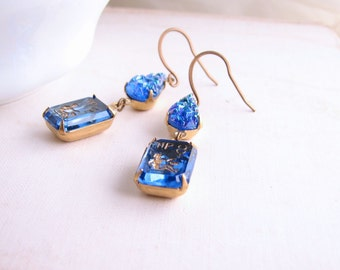 VIRGO Sapphire rhinestone earrings vintage sapphire blue crystal