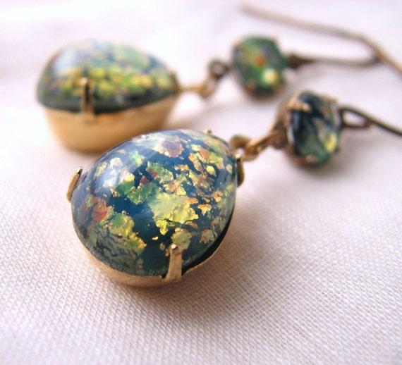 Green Opal earrings with vintage art glass