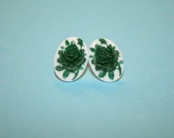 Tiny Dark Green Rose Cameo Earrings