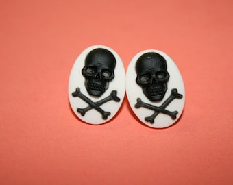 Small Black Skull & Crossbones Cameo Earrings