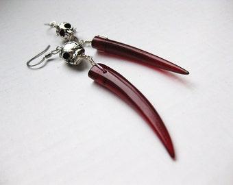 Nepthysis - Red horn tusk and Silver Skull Earrings
