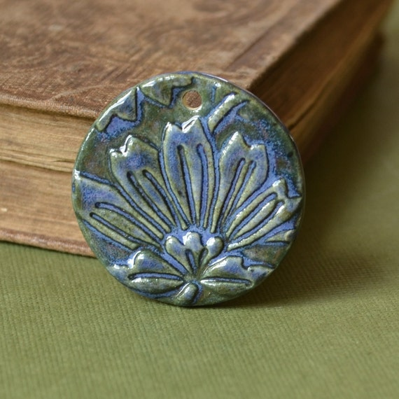 Handmade Lotus Pedant in Blue and Green