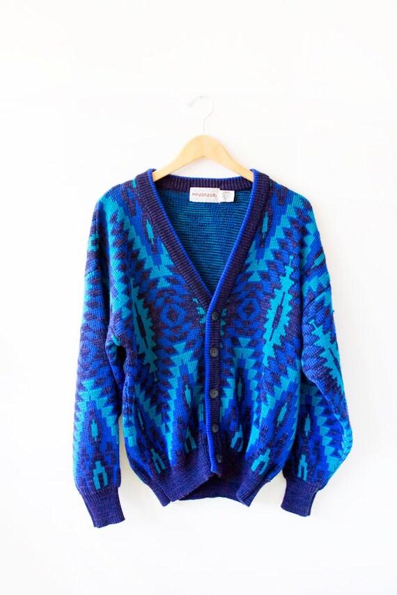 Oversized Cosby Cardigan Vintage Sweater - Blues- Size Large