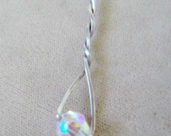 Countess Crystal  Pendant Wirewrapped in SS