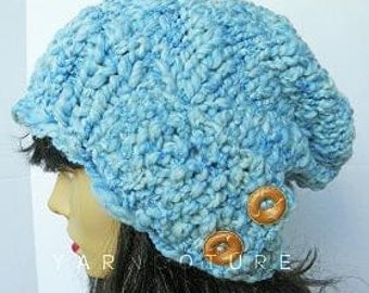 The SAHLAN Hat - Thick Slouchy Hat - Fall, Winter Fashion - Sky Blue w/Satin Lining Option