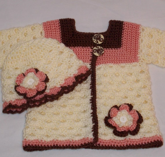 Crochet Baby Sweater Set ... 3 to 6 months ... ready to ship ... coral brown cream ... heirloom ... Sweet Pea Original
