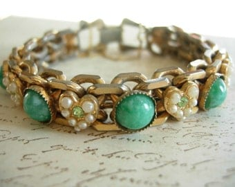 vintage bracelet with hearts of pearl