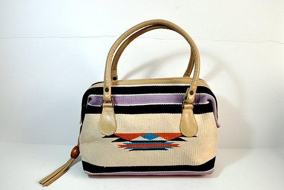 1980's Purse / Vintage 80's Boho Western CarpetBags of America Doctors  Bag Purse