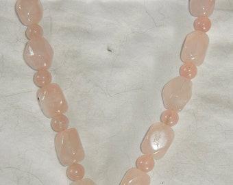 Rose Quartz necklace with cherub pendant