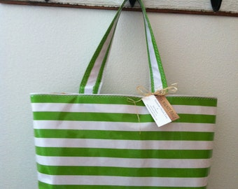 Beth's Large Green Stripes Oilcloth Market Tote Bag
