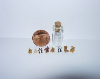 Set of 8 micro teddy bears in tiny glass jar suitable for all dolls house scales