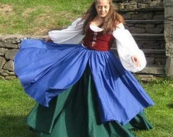 Renaissance 8 Gore Skirt, 8 Gore Overskirt and Short Chemise Set Custom Color Medieval SCA LARP Faire