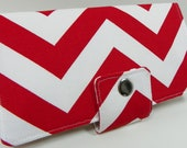 Handmade vegan Long Wallet  BiFold Clutch Chevron Zig Zag Lipstick Red