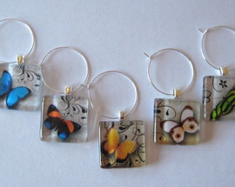 Butterfly Glass Tile Wine Charms Set of 5
