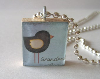 Grandma with a Bird Scrabble Tile Necklace