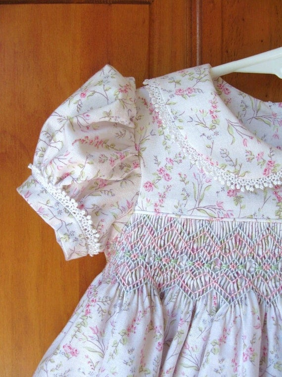 Hand Smocked Baby Girl Dress Pink Trailing Roses On White Size