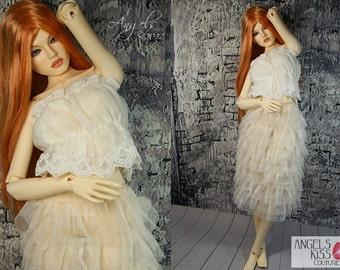 Cream Tulle Petticoat Skirt Lingerie for Iplehouse or Raccoon doll SID, EID or FID bjd doll clothes