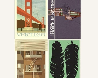 Movie posters Hitchcock Collection set of four prints in various sizes save 10%