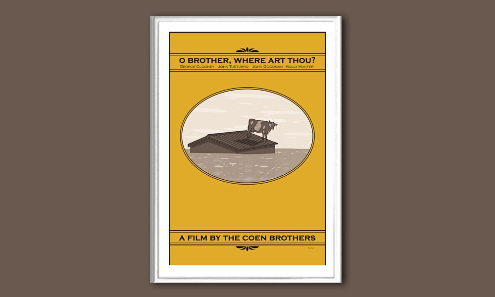 Movie poster O Brother Where Art Thou 12x18 by ClaudiaVarosio