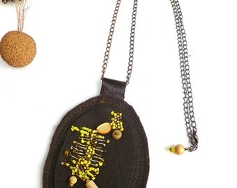 Marked down 50%, Yellow III, unique fiber art necklace, bead embroidery, hand stitched, brown felt, statement pendant