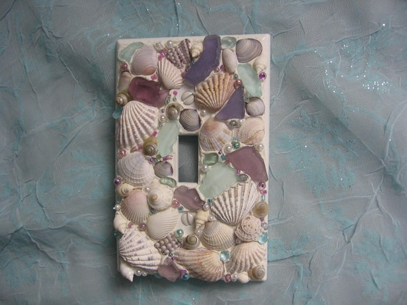 Handmade Seaglass Seashell Light Switch Plate Cover - Single switchplate Purple / Aqua / Pearl