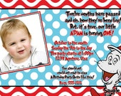 Dr Seuss BIRTHDAY Invitation with Matching Thank You Cards, Cat in the hat