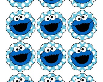 Cookie Monster Sticker or Cupcake Topper, Printable File 2 inch circle scalloped