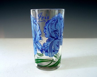 Vintage Peanut Butter Glass Boscul Blue Iris Flower Retro Revival 1950s