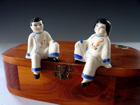 Vintage Occupied Japan Shelf Sitters Oriental Boy and Girl Figurines Sitting Children Porcelain Figures 1940s