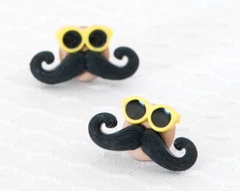 Mr. Incognito. Mustache Post Earrings Jewelry Neon Polymer Clay Studs on Surgical Stainless Steel.  Back to School Fashion.