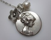 Gorgeous Victorian Girl Brass Cameo Necklace in Silver Finish