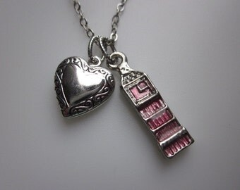 Big Ben Necklace, Big Ben Tower, Clock Tower, London Necklace, Heart Locket, Travel Necklace, I Heart London, Silver Finished Big Ben