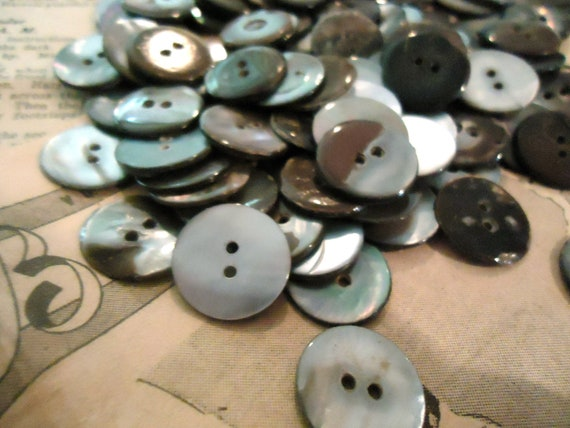 "100 vintage mother of pearl MOP buttons antique 11/16"" 2 holes"