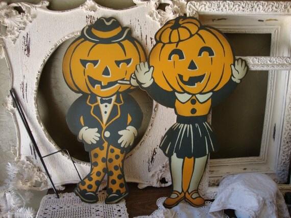 Vintage Halloween Pumpkin Garden Yard Sign Large Metal orange and black pumpkin Lawn ornament Garden decoration