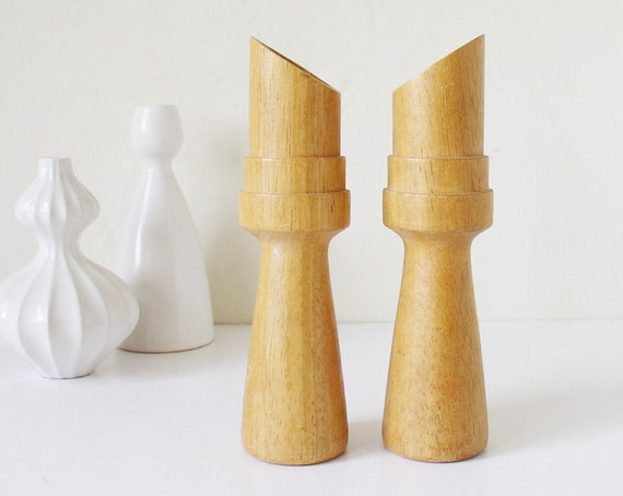 Blonde wood candle holders