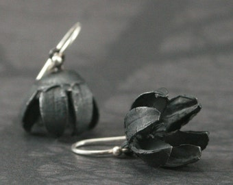Seed Pod Dangle Earrings in Oxidized Sterling Silver with Silver French Ear Wire--Hand Cast Crape Myrtle Seed Pod - Floral Jewelry