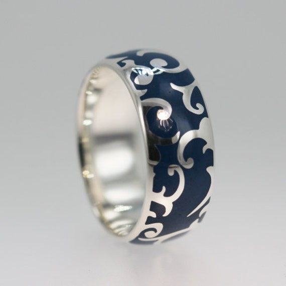 video game wedding rings gold wedding band with carved pattern and inlay 8266