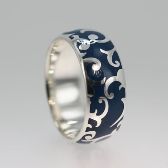 Gold Wedding Band With Hand Carved Pattern And Inlay
