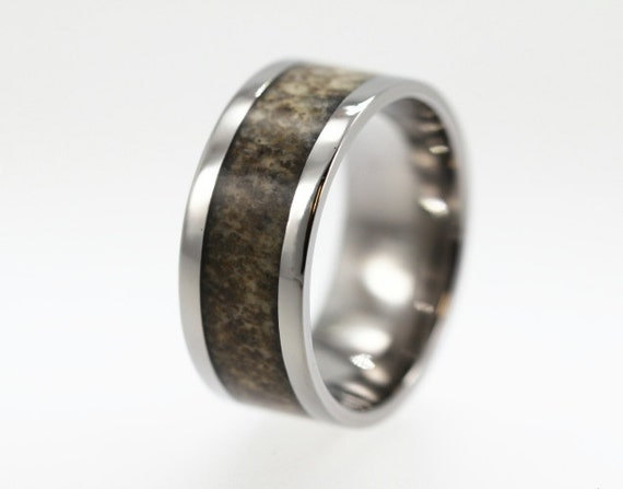 Deer Antler Ring, Titanium Ring with Deer Antler Inlay makes a great Hunters Wedding Band, Ring Armor Included